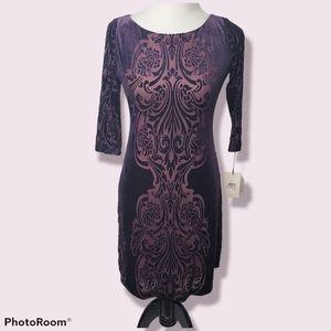 Ivanka Trump Purple 2 Velvet Burnout Shift Dress